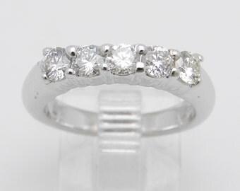 14K White Gold .75 ct Diamond Wedding Ring Anniversary Band Size 5
