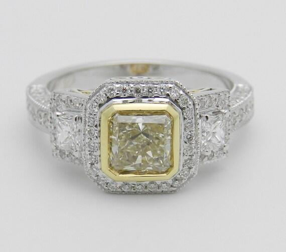 Fancy Yellow Princess-Cut Halo Diamond Engagement Ring 18K White Gold EGL USA Size 6.5