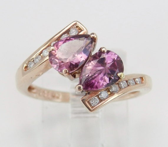 Diamond and Rhodolite Garnet Bypass Ring Right Hand Statement Ring 14K Pink Rose Gold Size 6.25