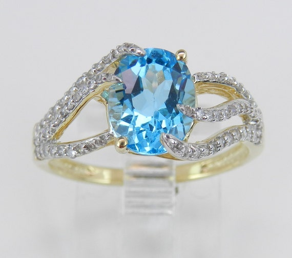 Diamond and Blue Topaz Engagement Promise Ring Yellow Gold Size 7 December Gem