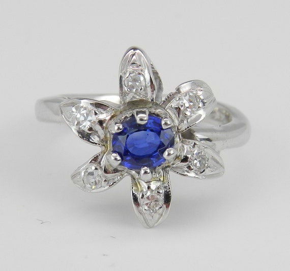 Diamond and Blue Sapphire Flower Ring Estate Vintage Ring 14K White Gold Right Hand Ring Size 5.25