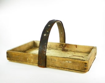 Vintage Handmade Wooden Tote, Farmhouse Wooden Tray with Leather Handle