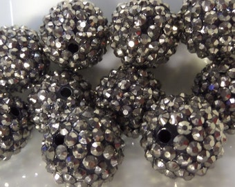 20mm, 10CT. Gun Metal Grey Rhinestone Beads, G11
