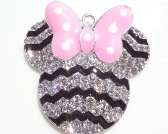42mm Minnie Mouse Inspired, Black, White and Pink Rhinestone Pendant, P26