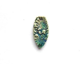 Sea Green Pendant Handmade Ceramic Hibiscus Flower Pendant