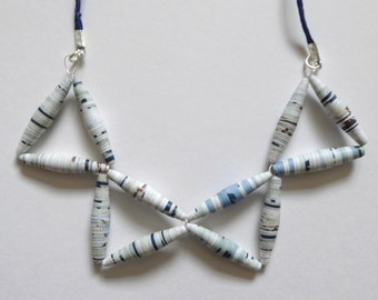 Blue, white and brown paper bead necklace