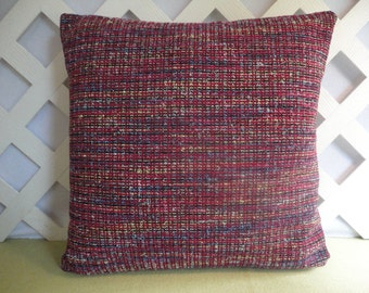 Tweed Look Pillow Cover in Purple Blue Yellow Black / Tweed Pillow / Purple Blue Pillow / Accent Pillow / 18 x 18 Pillow