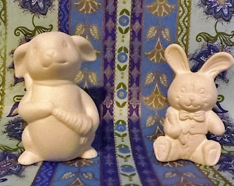 2 Ceramic Bisque Easter Rabbits,  Bunnies with Carrots  -  Ready to Paint DIY