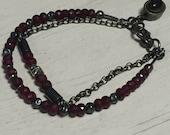 Bracelet - Gemstone Multi Strand - Sterling Silver - Oxidized - Rolo chain - Artisan Sundance Style Jewelry