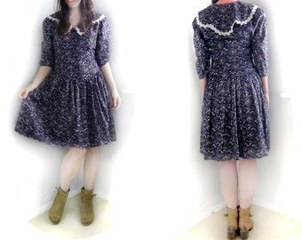 Vintage Gunne Sax 80s dress, Sailor lace collar / Purple Blue dress/ Dropped waist dress/ Peasant dress/ floral print/ Peter Pan collar