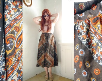 Vintage 70s SKIRT, brown Paisly boho skirtMid lenght gypsy, FOLK skirt