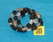 SPECIAL SALE- Black, Smoky and Painted Beads, Pewter, Silver Fluted & Scribed Spacers on Spring Wire Bracelet - Fits Any Wrist - B