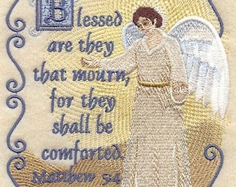 Beatitudes - Blessed are they that Mourn Embroidered on Kona Cotton Quilt Block // Plain Weave Cotton Dish Towel // Available on Other Items