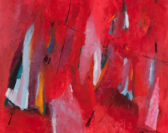 Large Wall Art Red ABSTRACT painting Canvas art, 32X32, Large Abstract Art, Modern Art bold ready to hang by Duealberi