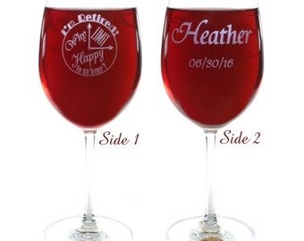 Retirement Gift Crystal Wine Glass with Choice from 8 Hancrafted Wooden Charms