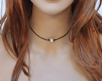Thin Black Leather Choker, Single Pearl Minimalist Necklace, Simple Choker