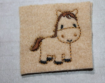 Full body horse feltie, brown Horse feltie on camel tan felt, felt stitchies, 4 pieces for hair accessories, scrap booking or crafts