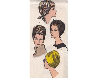 """Very Easy UNCUT Vogue Hat Patterns 6121 Three Styles Bandeau with Front Bow, Cap with Pleats, Tight Fitting Cloche Head Size 21.5-23"""""""