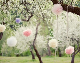 "1 MEDIUM 10"" / 28cm tissue Pom Pom - 64 colors - hanging birtday - wedding party decorations Active"
