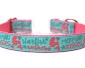 "Mermaid Dog Collar 1"" Summer Dog Collar SIZE LARGE"
