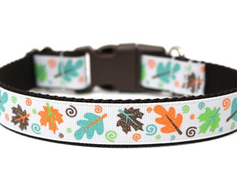 "Autumn Dog Collar 1"" Fall Dog Collar SIZE LARGE"