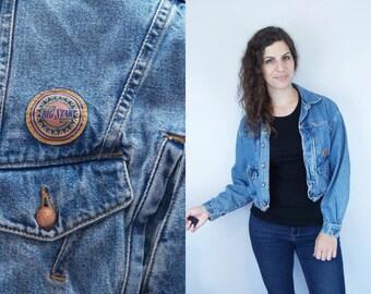1990s Vintage BIG STAR Blue Jean Denim Jacket / Slouchy Oversized Baggy Long Sleeve Sleeved Grunge Jacket Coat Outerwear / Small Medium S M