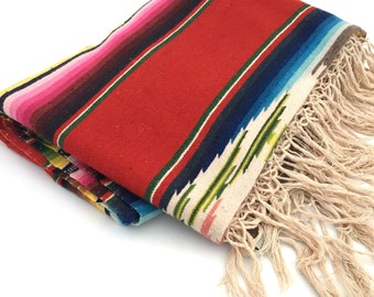 Mexican Serape Saltillo Blanket, Large Red Tribal / Southwestern Decor