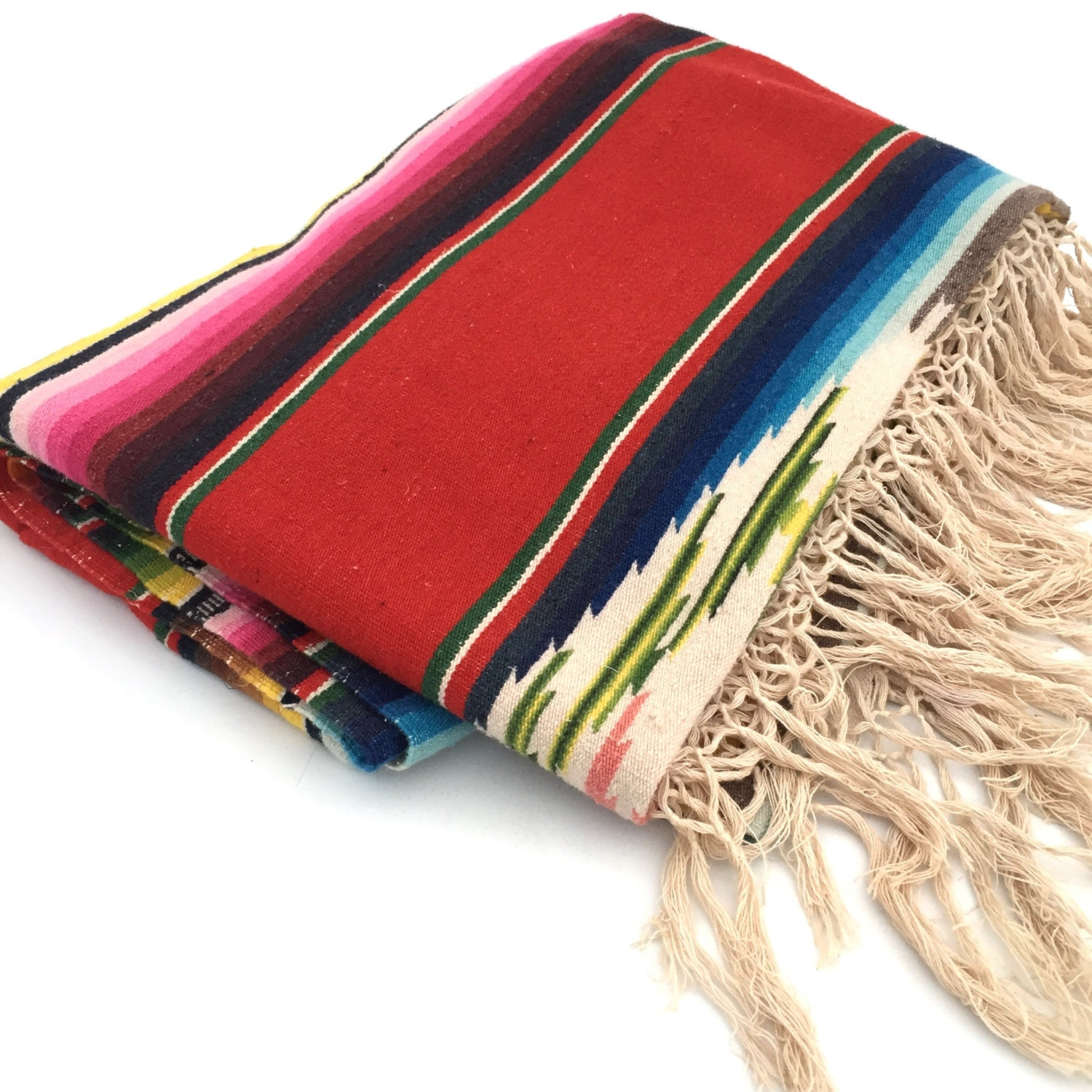 Mexican Serape Saltillo Blanket Large Red Tribal