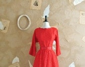 Vintage 1950s Sultry Red Lace Dress -Love Of A Lifetime-