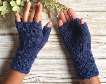 Elegant Fingerless Gloves, Cables and Lace Pattern, Color Dusty Blue