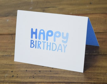 Happy Birthday Blue Ombre Greeting Card