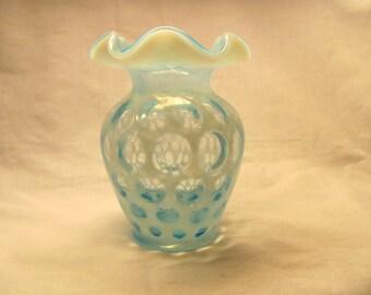 Fenton Blue Coin Dot Opalescent Vase 5 inch