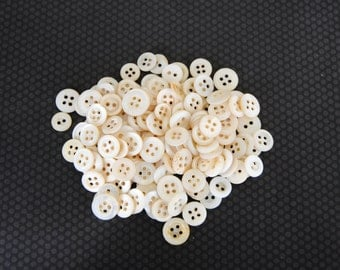Vintage Mother of Pearl White Sew Through Buttons Crafts Clothes 150 Buttons