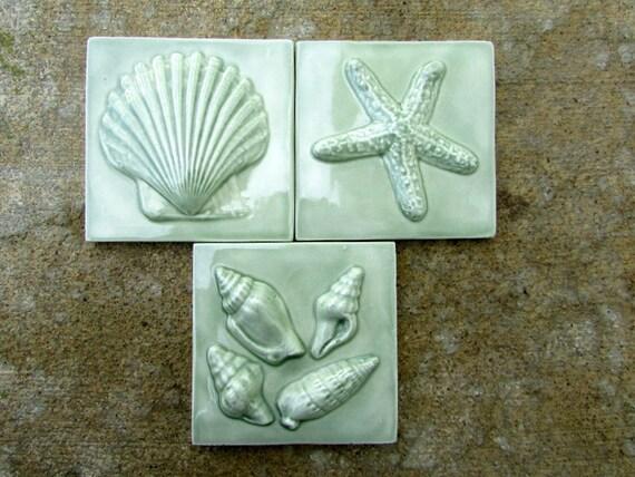 3x3 ceramic seashore tile set of 3 in green tea glaze for Bathroom design 3x3