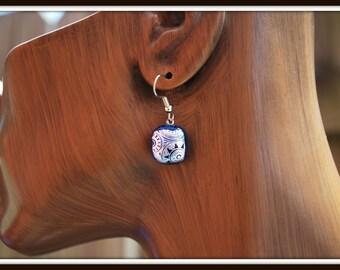 Fused Glass Earrings, Blue Glass Earrings, Blue Fused Glass Earrings, Blue Glass Dangles, Everyday Earrings, Short Blue Dangle Earrings