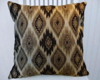 Grey Brown Black Pillow Cover, Decorative Throw Pillow Cover 18x18 or 20x20 or 22x22 Accent Pillow Cover