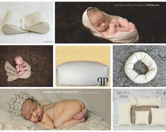 Starter Set #22 ~ Posey Pillow Rectangulum, Squishy poser, Doughnut poser and Set of 5 positioners. Newborn Photo Props by Posey Pillow