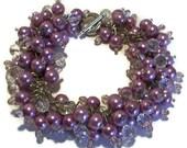 Bridesmaid Jewelry, Purple Pearl and Crystal Cluster Bracelet,  Cha Cha Bracelet, Purple Wedding Jewelry