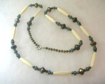 Vintage Southwestern Style 36-Inch Silver Bead Necklace  No. 1637