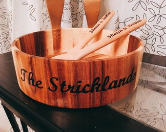 Wooden Salad bowl With Tongs - Personalized