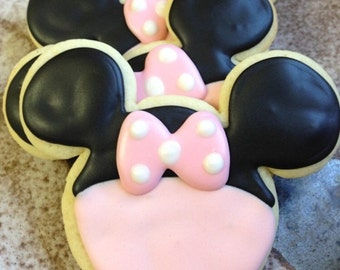 Pink Minnie Mouse Sugar Cookies Iced Decorated Birthday Favors