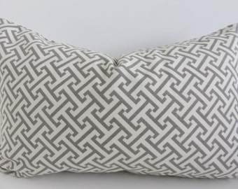 Fretwork Grey Ivory Pillow Cover- Grey Pillow Cover- 12x20 Pillow Cover- Grey Pillow- Accent Lumbar- Accent Home Decor- Decorative Lumbar