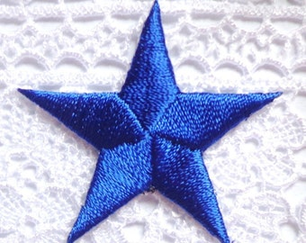 embroidered iron on applique star  royal color