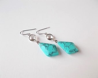 Quartz and Blue Howlite Earrings, Summer Jewelry, Gift for Her, Turquoise Earrings, Rustic Jewelry