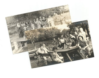 Spanish Club 1936 1937 - Two Vintage Snapshot Photos - High School Club - Yearbook Photos - Picnic - Found Vernacular Photos