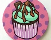 Mint Chocolate Chip Cupcake Polka Dot Painting on Round Canvas (5 x 5 in)