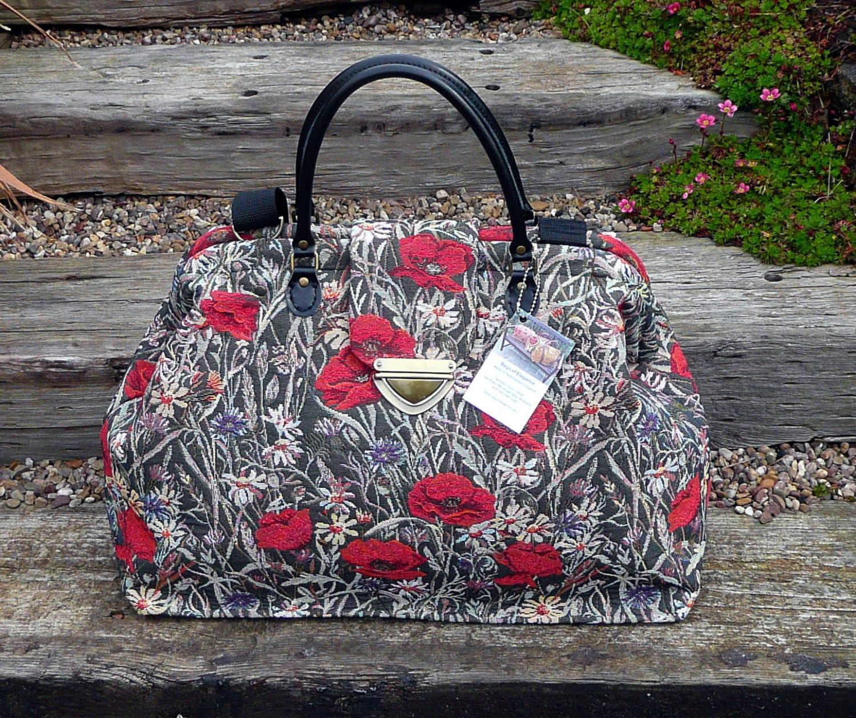 Mary Poppins Carpet Bag Poppies Tapestry Bag Weekender Bag