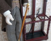 Gentleman's Walking Stick Cane in Oak finish in 1:12 Scale for Dollhouse Hall or Foyer
