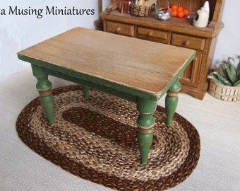 Rustic Kitchen Table Hauser Green in 1:12 Scale for Dollhouse Miniature Country Farmhouse