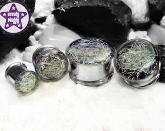 """Subspace Galaxy Plug / Gauge Silver Rainbow Holographic Colour Flash 0g, 00g, 7/16"""" / 8mm, 10mm, 11mm"""